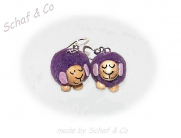 Ohrhänger * Schäfchen * Stoffschmuck ,lila-silber ♥♥♥♥