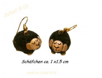 Ohrhänger * Schäfchen * Stoffschmuck ,schwarz-goldfarben ♥♥♥♥