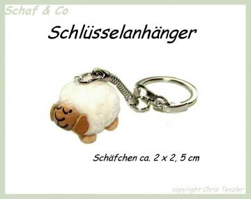 Schlüsselanhänger-Taschenbaumler-Charms. weisses Schäfchen☼☼