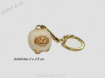 ☼☼ handgemachter Schlüsselanhänger-Taschenbaumler-Charms. weisses Schäfchen☼☼
