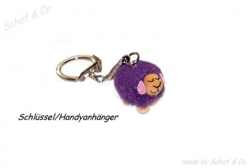 Schlüsselanhänger-Taschenbaumler-Charms. lila Schäfchen☼☼