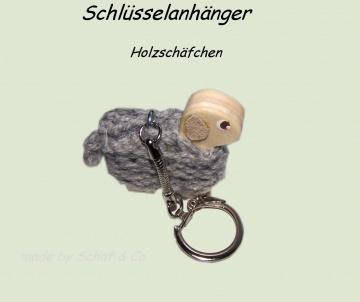Schlüsselanhänger,♥ kleines Holzschäfchen♥ Taschenbaumler, Charms