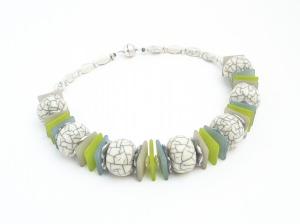 Halskette Marmor Pastell Unikat Collier Ivory Perlenkette