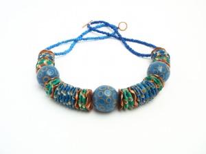 Perlenkette Boho Collier Blau Halsschmuck Unikat
