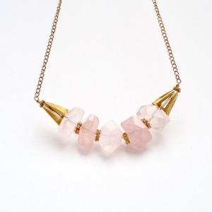 Rose' Quarz Juwelen Gold Gliederkette Unikat