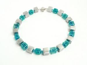 Halskette Türkisblau Lampwork Würfel Silber Collier