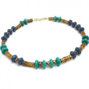 Halsschmuck Blaue Koralle Echt Türkis Gold Edelsteinkette