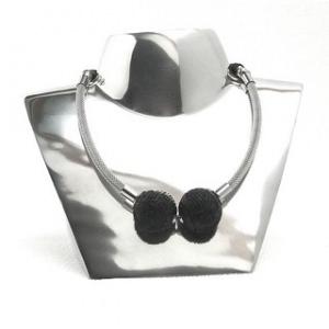 Halskette Art Deco Design Chrome Lack Collier Edelstahl