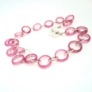 Halskette Rosa Silber Ringspiel Halsschmuck Ringe