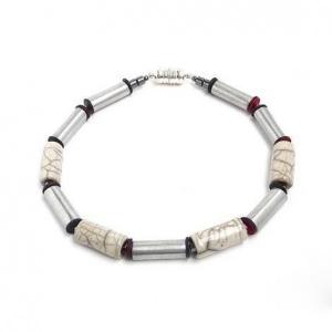 Halskette Marmor Raku Keramik Perlen Unikat