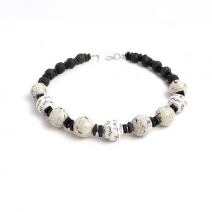 Halskette Schwarz Weiß Onyx Edelstein handgefertigte Perlen