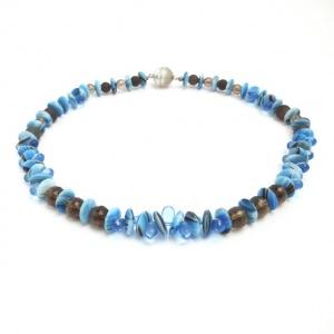 Halskette Rauchquarz Edelstein Blaue Tropfen Antike Perlen Collier