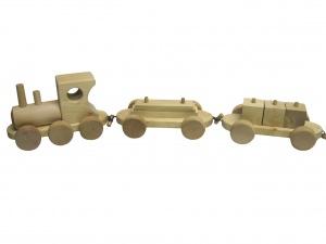 Güterzug 66 cm lang mit Würfel- & Plattenanhänger aus Holz
