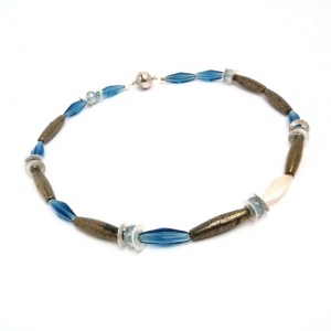 Halskette Kühles Blau Pyrit Silber Venedig Glas Unikat Collier
