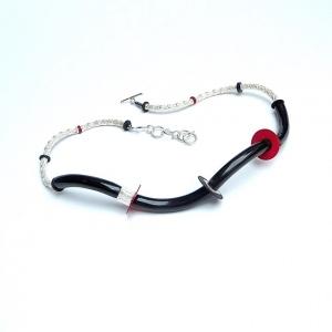 Halskette Silber Schwarz Rot Unikat Art Deco Design Collier
