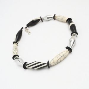 Halskette Weiß Schwarz Zeichnung Unikat Schmuck Perlen Silber