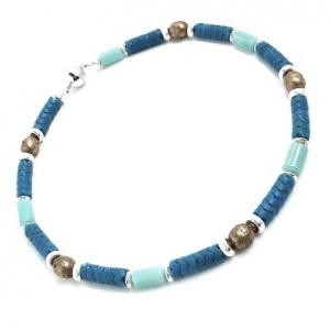 Halskette Antik Nepal Silber Amazonit Edelstein Collier