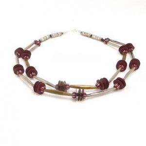 Halskette Afrika Fulani Perlen Antik Silber Gold  Collier Unikat