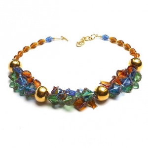 Halskette Gedreht Glaskunst Blau Grün Bernstein Collier Gold