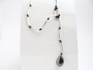 Silberschmuck Minimalistisch Silberkette Silberpyrit  Edelstein Tropfen
