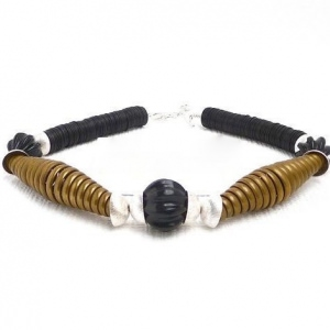 Halskette Schwarz Skulptur Goldspiralen Silberperlen Bakelit Unikat
