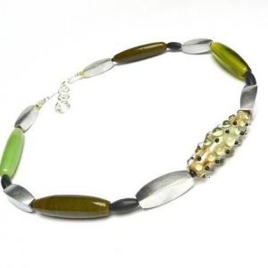 Halskette Glaskunst Grüne Tupfen Art Deco Collier