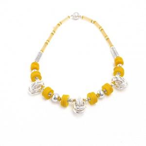 Halskette Gelb Silber Art Deco Antik Bakelit Halsschmuck