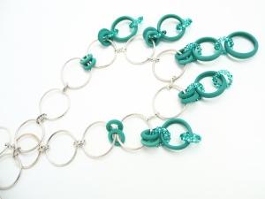 Boho Halskette Türkis Ringspiel Silber Venedig Glas Silberringe