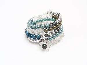 Spiralarmband Kristall Perlen Mint Petrol Armreif  Perlen