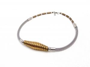 Halskette Art Deco Chrome Goldglanz Spirale Collier