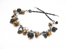 Halskette Boho Tuareg Gold Perlen Statementkette