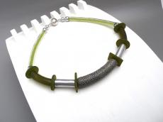 Halskette Art Deco Oliv Pistazie Peridot Collier Unikat