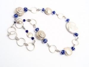 Halskette Meerblau Silber Muscheln Gliederkette