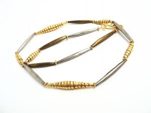 Halskette Fulani Silber Gold Spiralen Unikat