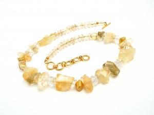 Halskette Edelstein Citrin Lemon Bouquet Gold Collier