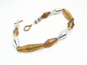 Halskette Statement Wechselhaft Silber Gold Spindel Perlen Unikat