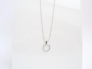 Geometrie Silber Hexagon Kugelkette Silber