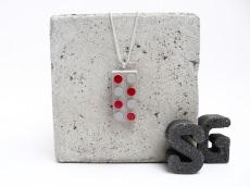 Beton Baustein Handmade Metallic Lack Rot Kugelkette Silber