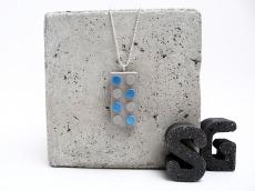 Beton Baustein Handmade Metallic Lack Blau Kugelkette Silber
