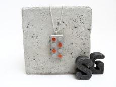Beton Baustein Handmade Metallic Lack Kupfer Kugelkette Silber