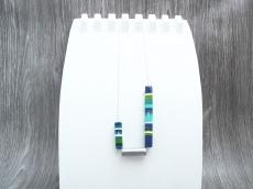 Halskette Vierkant Blockstreifen Silber Kugelkette