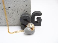 Beton Goldherz Blattgold Kugelkette Gold Unikat Handmade