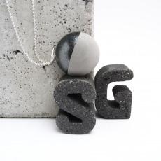 Beton Handmade Halbkugel Metallic Anthrazit Kugelkette Silber Unikat