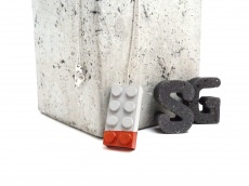 Handmade Beton Baustein Exklusiv KUPFER Metallic Lack Kugelkette Silber Unikat