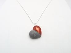Beton Handmade KUPFERHERZ Metallic Lack Kugelkette Silber Unikat