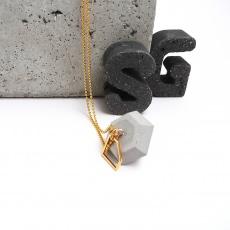 Beton Pur Handmade Diamant mit Diamant Anhänger Gold Kugelkette