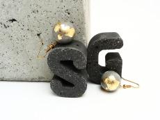 Beton Handmade Kugel Blattgold Ohrhänger Unikat