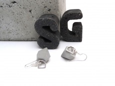 Beton Pur Handmade Diamant mit Diamant Anhänger Silber Ohrringe