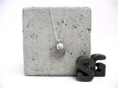 Beton Handmade Silberherz Anhänger Kugelkette Silber