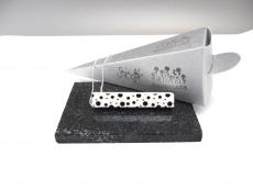 Handmade Unikat Rectangles Black Dots Silber Kugelkette